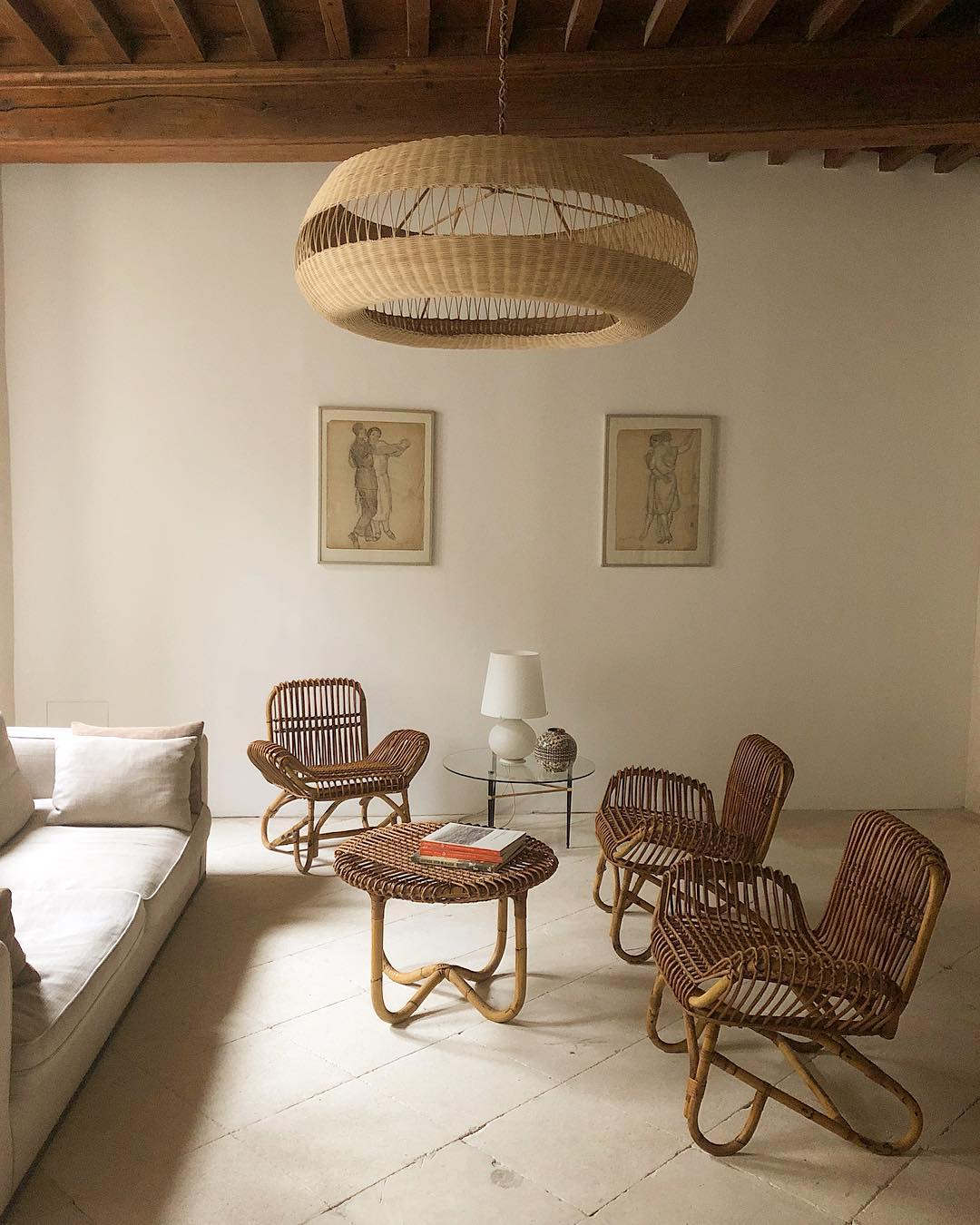 Atelier Vime - traditionally handcrafted rattan and wicker in modern shapes. Featured, the Aramis pendant.